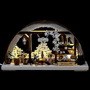 Schwibbögen Laubsägearbeiten 3D-Doppelschwibbogen Kellerbar - 43x30x7 cm