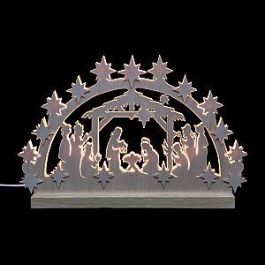 Schwibbögen Laubsägearbeiten 3D-Doppelschwibbogen - Krippenstall - 42 x 30 x 4,5 cm