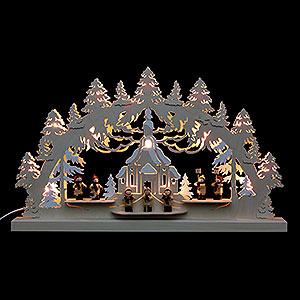 Schwibbögen Laubsägearbeiten 3D-Doppelschwibbogen - Seiffener Kirche - 62 x 37 x 5,5 cm