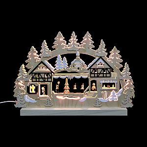Schwibbögen Laubsägearbeiten 3D-Doppelschwibbogen - Seiffener Weihnachtsmarkt - 42 x 30 x 4,5 cm