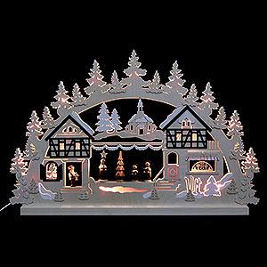 Schwibbögen Laubsägearbeiten 3D-Doppelschwibbogen - Seiffener Weihnachtsmarkt - 74 x 47 x 5,5 cm