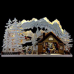 Schwibbögen Laubsägearbeiten 3D-Doppelschwibbogen Skihütte - 72x43x8cm