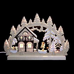 Schwibb�gen Laubs�gearbeiten 3D-Doppelschwibbogen - Umgebindehaus - 42 x 30 x 4,5 cm