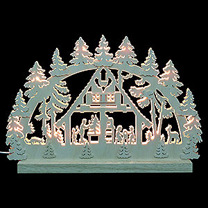 Schwibb�gen Laubs�gearbeiten 3D-Doppelschwibbogen - Waldhaus - 42 x 30 x 4,5 cm