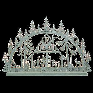 Schwibbögen Laubsägearbeiten 3D-Doppelschwibbogen - Waldhaus - 74 x 47 x 5,5 cm