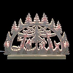 Schwibbögen Laubsägearbeiten 3D-Doppelschwibbogen - Waldmotiv - 42 x 30 x 4,5 cm