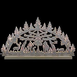 Schwibbögen Laubsägearbeiten 3D-Doppelschwibbogen - Waldmotiv - 72 x 40 x 5,5 cm