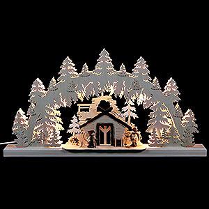 Schwibbögen Laubsägearbeiten 3D-Doppelschwibbogen - Wanderhütte - 62 x 33 x 5,5 cm