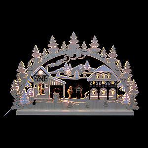 Schwibbögen Laubsägearbeiten 3D-Doppelschwibbogen - Wassermühle - 74 x 47 x 5,5 cm
