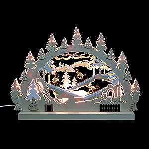 Schwibbögen Laubsägearbeiten 3D-Doppelschwibbogen - Winterlandschaft - 42 x 30 x 4,5 cm