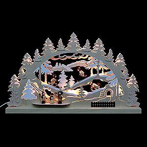 Schwibbögen Laubsägearbeiten 3D-Doppelschwibbogen Winterlandschaft - 62x37x5,5 cm