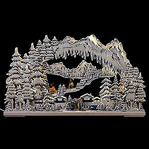 Schwibbögen Laubsägearbeiten 3D-Doppelschwibbogen Wintersport - 72x43x8cm