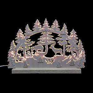 Candle Arches Fret Saw Work 3D-Double-Arch - Animals in Forest - 42x30x4,5 cm / 16x12x2 inches