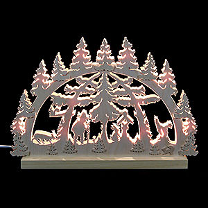 Candle Arches Fret Saw Work 3D-Double-Arch - Forest Scene - 42x30x4,5 cm / 16x12x2 inches