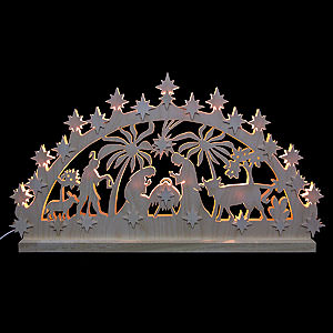 Candle Arches Fret Saw Work 3D-Double-Arch - Nativity Motif - 72x40x5,5 cm / 28x16x2 inches