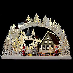 Candle Arches Fret Saw Work 3D Double Arch - Santa Claus Workshop - 43x30x7 cm / 17x11x3 inch