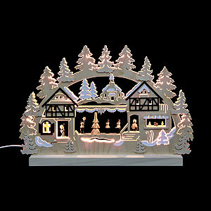 Candle Arches Fret Saw Work 3D-Double-Arch - Seiffen Christmas Fair - 42x30x4,5 cm / 16x12x2 inches