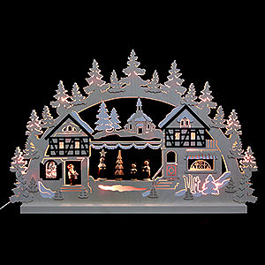 Candle Arches Fret Saw Work 3D Double Arch - Seiffen Christmas Fair - 74x47x5,5 cm / 29x18x2 inch