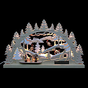 Candle Arches Fret Saw Work 3D-Double-Arch - Winter Countryside - 62x37x5,5 cm / 24x14x2 inches
