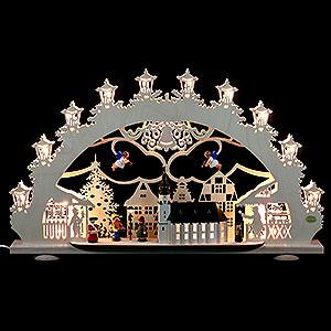 Schwibbögen Laubsägearbeiten 3D-Lichterbogen - Altstädter Weihnachtsmarkt - 66 x 40 x 11 cm