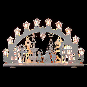 Candle Arches Fret Saw Work 3D-Light-Arch - City in winter - 66 x 40 x 6 cm