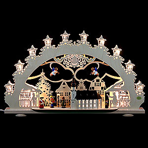 Candle Arches Fret Saw Work 3D Light Arch - Old Town Christmas Fair - 66x40x11 cm / 4.3 inch