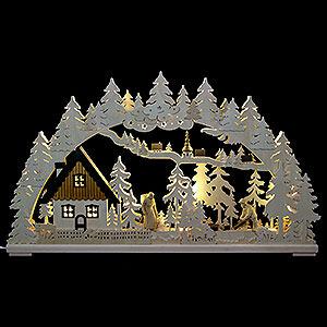 Schwibbögen Laubsägearbeiten 3D-Schwibbogen Altseiffen mit geschnitzten Figuren - 72x43x8 cm