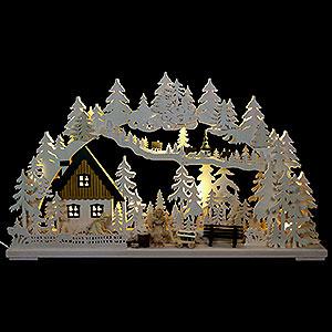 Schwibbögen Laubsägearbeiten 3D Schwibbogen - Altseiffener Handwerk mit geschnitzten Figuren - 72x43x8cm
