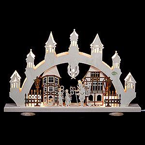 Schwibbögen Laubsägearbeiten 3D Schwibbogen Altstadt - 47x31x6cm