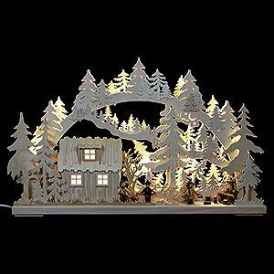Schwibbögen Laubsägearbeiten 3D Schwibbogen - Blockhütte mit Waldarbeitern - 62x38x8cm