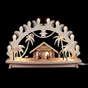 Schwibbögen Laubsägearbeiten 3D-Schwibbogen Christi Geburt mit beweglichen Figuren - 68x43x16cm