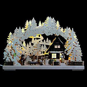 Schwibbögen Laubsägearbeiten 3D Schwibbogen - Familienglück - 43x30x7cm