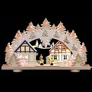Schwibbögen Laubsägearbeiten 3D-Schwibbogen Kinder im Dorf - 52x31,5x6cm