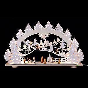 Schwibbögen Laubsägearbeiten 3D-Schwibbogen Kinder im Schnee - 66x40x8,5cm