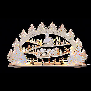 Schwibbögen Laubsägearbeiten 3D-Schwibbogen Kinder im Winterdorf - 66x40x11,5cm