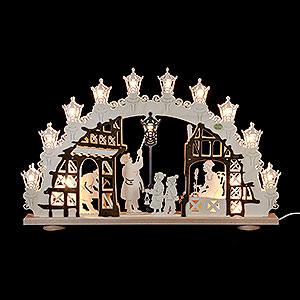 Schwibbögen Laubsägearbeiten 3D Schwibbogen Lampenmann - 66x43x6cm