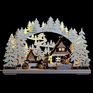 Schwibbögen Laubsägearbeiten 3D Schwibbogen - Markthändler - 43x30x7cm
