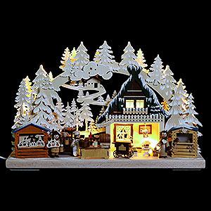 Schwibbögen Laubsägearbeiten 3D-Schwibbogen Nikolausmarkt mit Raureif - 40x30x7 cm