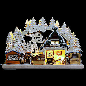 Schwibbögen Laubsägearbeiten 3D Schwibbogen - Nikolausmarkt mit Raureif - 40x30x7cm