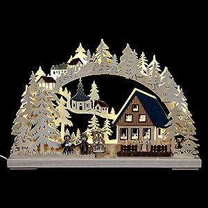 Schwibbögen Laubsägearbeiten 3D Schwibbogen - Pyramidenhaus - 43x30x7cm