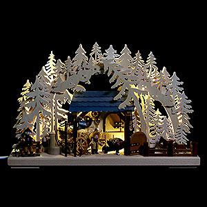 Schwibbögen Laubsägearbeiten 3D Schwibbogen - Reiterhof - 43x30cm