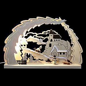 Schwibbögen Laubsägearbeiten 3D Schwibbogen Rodelberg - 41x27x4,5cm