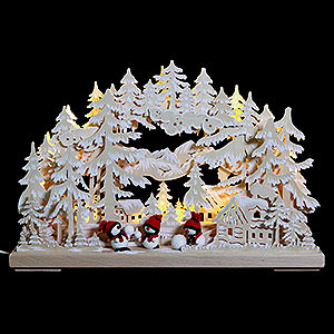 Schwibbögen Laubsägearbeiten 3D Schwibbogen - Schneeballschlacht mit Raureif - 43x30x7cm