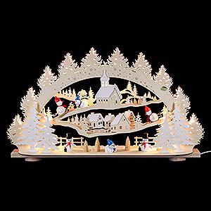 Schwibbögen Laubsägearbeiten 3D-Schwibbogen Schneemann - 66x40x11,5cm