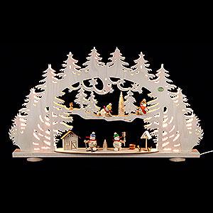 Schwibbögen Laubsägearbeiten 3D-Schwibbogen Schneemann - 66x40x8,5cm