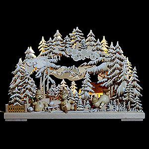 Schwibbögen Laubsägearbeiten 3D-Schwibbogen Schneemannparadies mit Raureif - 43x30x7 cm