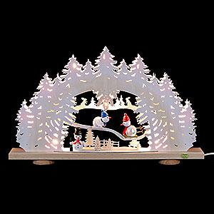 Schwibb�gen Laubs�gearbeiten 3D-Schwibbogen Schnemann mit Raufreif - 52x31,5x6cm