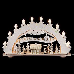 Schwibbögen Laubsägearbeiten 3D-Schwibbogen Skihütte Räucherhaus - 66x40x11,5cm