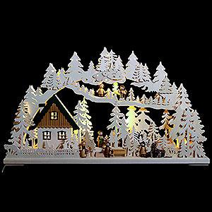 Schwibbögen Laubsägearbeiten 3D Schwibbogen - Waldgänger - 72x43x8cm