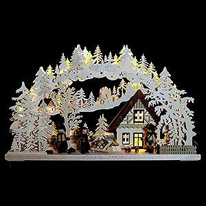 Schwibbögen Laubsägearbeiten 3D Schwibbogen - Waldhüter mit gedrechselten Figuren - 72x43x8cm